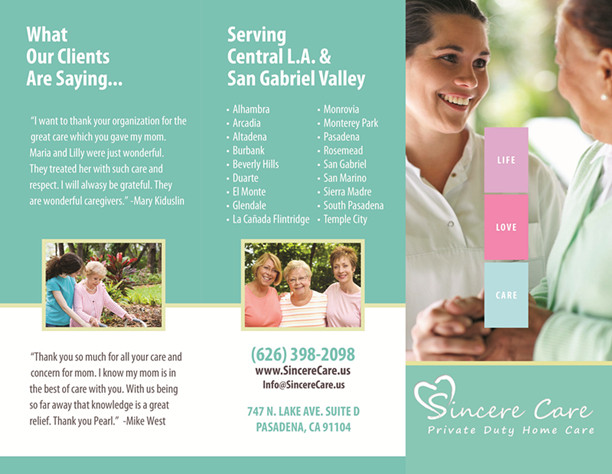 Our Brochures  Sincere Private Duty Home Care